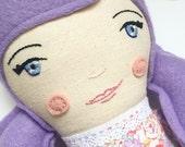 Violet: heirloom doll, cloth doll, handmade doll, rag doll, girl doll