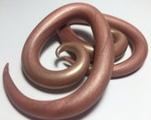 Valentine/Pink/Rose/Gold Pearl Spiral Plugs/Teardrop/Egg/Gauge/Stretched Ears/Feminine/Pretty/Light/Wedding/Bride/Unique/Custom/Polymer Clay