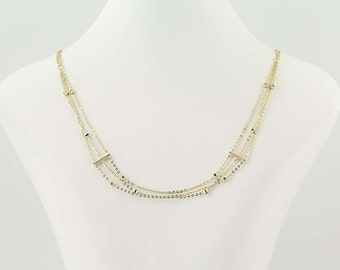 "3-Strand Necklace - Sterling Silver Clear Cubic Zirconias 15.75""-18.75"" Lobster Clasp Q8501"