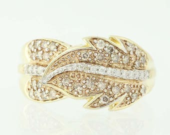Diamond Feather Bypass Ring - 14k Yellow Gold Round Cut .50ctw N9490