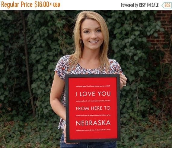 Mothers Day SALE Housewarming Gift, Personalized Nebraska State Art Print, I Love You From Here To NEBRASKA, Shown in Bright Red