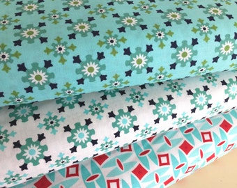 Bonnie & Camille Fabric Bundle, Daysail Collection, Bundle of 3 Fabrics,Aqua's White and Red, Ready for Summer Sewing
