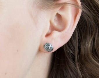 Daisy Earrings - Oxidised Silver Earrings - Oval Sterling Silver Studs - Disc Earrings Weddings - Bridesmaids gifts