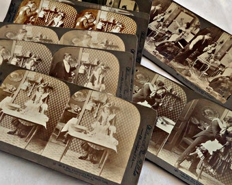 12 Antique Stereograph Cards Set Comical Satire of Husband Caught with the French Cook Underwood and Underwood with Original Box 1900's