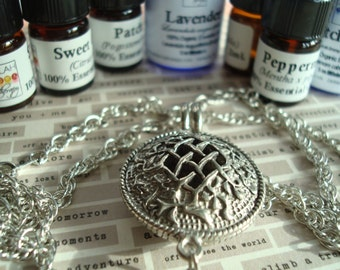"Celtic Lattice Aroma Necklace with 24"" Chain, Bring Scent to Your Auric Space, Choice of 100% Essential Oil, Aroma, Jewelry, Aromatherapy"