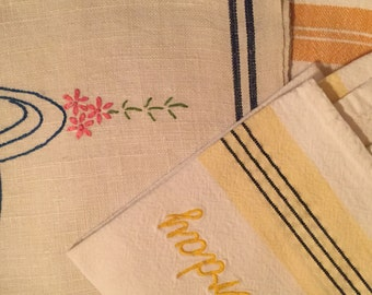 Lot of 3 vintage kitchen towels blue stripe linen embroidery very sweet country kitchen!