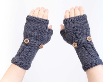Knitted  fingerless gloves charcoal grey
