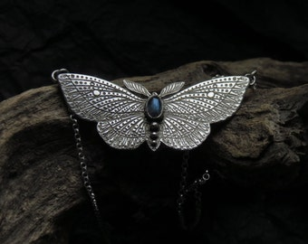 Moth Necklace - Silver Butterfly Necklace - Silver Moth Necklace - Labradorite Moth Necklace