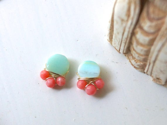 Light blue peruvian opal and pink coral cluster stud earrings