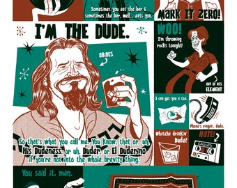 The Big Lebowski Silkscreen Poster by Ian Glaubinger inspired by Coen Brothers The Dude Jeff Bridges
