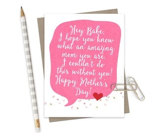 Mothers Day Card for Wife  / Mothers Day Greeting Card / Card for Wife on Mothers Day / Mom Card / Sweet Mom Card