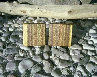 WOODEN CUFFLINKS Square Spalted ASH Handcrafted Wooden Cufflinks