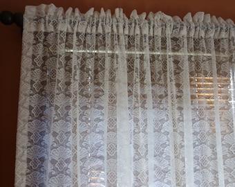 "RESERVED 7 lace rod pocket panels drapes 90"" long x 67"" wide romantic cottage home dec Victorian decor"