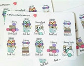 Luna Library Book Due & Rating Stickers~ Hand Drawn Inspired Planner Stickers