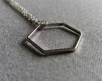 SALE Sleek Hexagon Necklace. Geometric Necklace. Hexagon Pendant. Long Geo Necklace. Modern Trendy Hip. Layering Layered