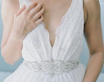 Tulle Beaded Rhinestone Wedding Sash Sb160111