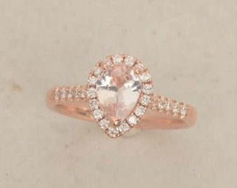 Pear Shape Peach Champagne Sapphire Engagement Ring in 14k Rose Gold Diamond Halo
