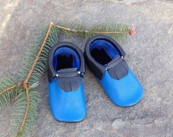 Leather Moccasins Black and Blue 12 24 months Shoes