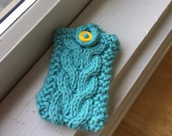 Gift card holder, Cabled Blue Gift, Business Card Holder, Teal Blue Cabled Holder, Yellow Button