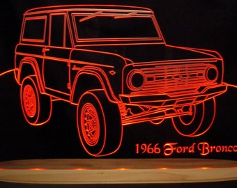 "1966 Bronco Pickup Acrylic Lighted Edge Lit Awesome 21"" LED Truck Sign Full Size Made in USA VVD3"