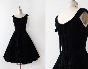 vintage 1950s dress // 50s black velvet dress
