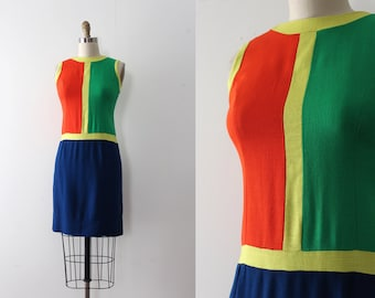 vintage 1960s dress // 60s mod color block Mondrian inspired dress