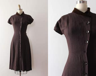 vintage 1940s dress // 40s button up day dress
