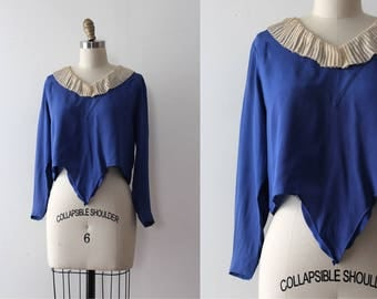 vintage 1920s blouse // 20s 30s silk blue top