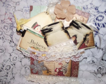 Altered Christmas Envelope Include A  handmade Journal  Shabby Vintage Sewed Notes Cards And Gift Tags