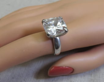 Huge Cushion Cut Cubic Zirconia Sterling  Engagement or Dinner  Ring, Size 7