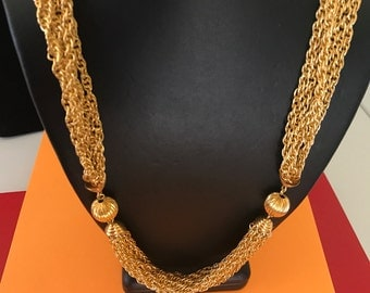 Long Light Weight Heavy Look Multilayered Gold Tone Chain Necklace