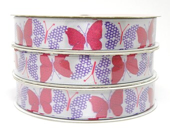 Red and Purple Butterfly Ribbon, Gray Ribbon with Purple and Red Butterflies 5/8 inch ribbon 3 yards