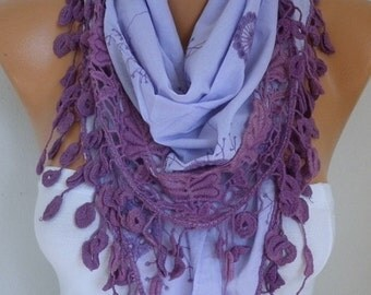 ON SALE --- Lilac Scarf Teacher Gift Lavender Embroidered Floral Scarf Cotton Scarf Cowl Gift Ideas For Her Women Fashion Accessories