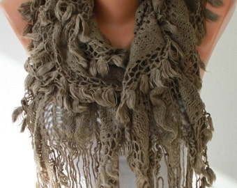ON SALE --- Knitted Lace Scarf  Winter Accessories Knit Shawl Scarf  Cowl Scarf  Long Scarf Ruffle Scarf Gift For Her Women's Fashion Access