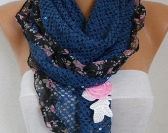 ON SALE --- Blue Knitted Scarf, Wedding Scarf,Bohemian,Evening Wrap,Cowl,Bridesmaid Gift,Lace,Gift Ideas For Her,Women Fashion Accessories -