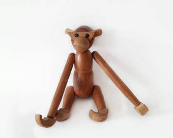 Mid Century Modern Teak Danish Design Hanging Monkey Figurine