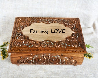 Personalized wooden jewelry box Ring box Large wooden box Engraved wedding gift Wood carving Personalized jewelry boxes Wooden jewellery B37