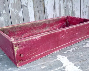 Wooden Box, Reclaimed Painted Red box, Candle Box, Centerpiece, Cottage chic, Farmhouse, Rustic Home decor
