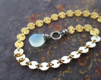 Tiny chalcedony gold fill bracelet - Dew Drop - blue green gemstone sterling silver gold fill everyday lightweight yoga boho by slashKnots