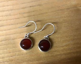 Carnelian bezel wrapped earrings, sterling silver