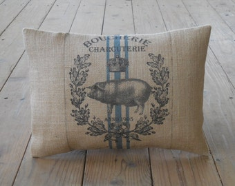 Feed Sack Style Pig Pillow, Shabby Chic, Pigs, Farmhouse Pillows, INSERT INCLUDED
