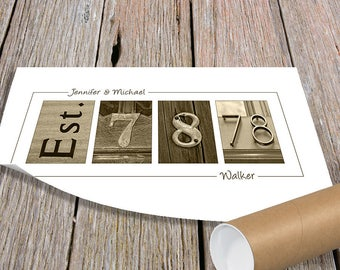 Anniversary Gift, Wedding Date Gift, Gift for Wife, Wedding Gift, Gift for Couples, Established Date Sign, 1st Anniversary Gift