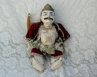 SUMMER SALE Antique Burmese (Myanmar) Tattoo Man Marionette/Puppet, traditional costume, purchased in Burma, 1992 trip, collectible puppet
