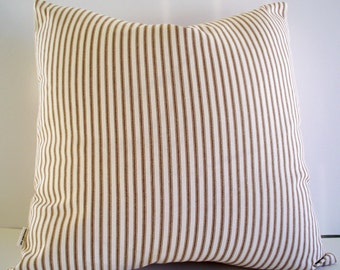 Brown Ticking Pillow Farmhouse Pillow Cover Brown Cream Ticking Stripe Farmhouse Cottage Pillow