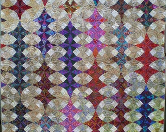Colorful Full Size Kaleidoscope Quilt in Contemporary Designer Fabrics and Batiks