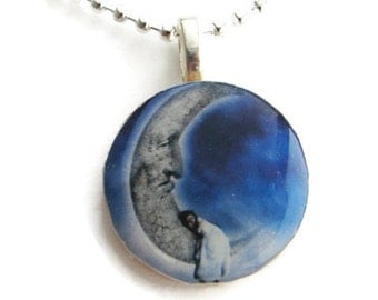 Sleeping on the Moon Pendant with Free Necklace