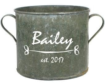 Personalized Vintage Zinc Bucket, Decorative Flower Pot