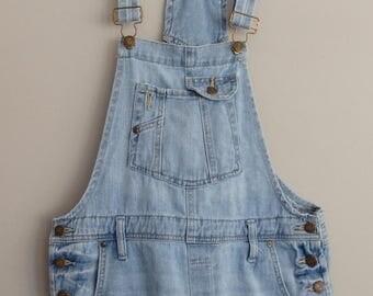 Vintage 90s LEI Shortalls 1990s Cotton Denim Shrts Bib overalls  M L overalls