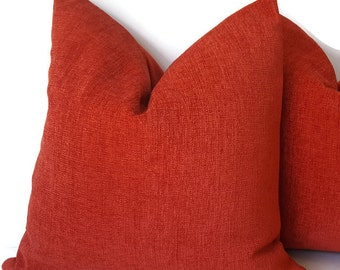 Red Chenille  Pillows - Red Cushion - Chenille Pillow - Chenille Shams - Red Accent Pillows - Chenille Toss Pillow - PILLOW COVER ONLY