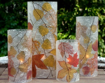 Fall Colors, 1 Extra Large candle cover with 1 free Battery Tea Light.  Gifts for him.  Electric tea light holder.  Patio decor.  LED light.